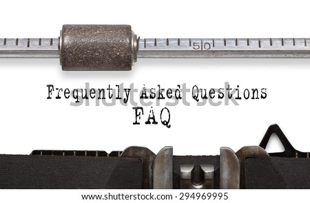 Frequently asked question (FAQ). Printed on an old typewriter. - stock photo