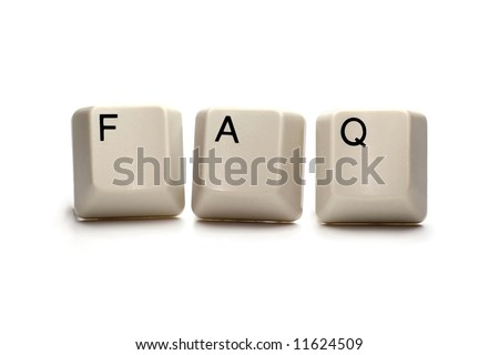 Frequently asked questions (FAQ) written with computer keys, isolated on white
