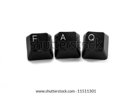 Frequently asked questions (FAQ) written with computer keys, isolated on white background