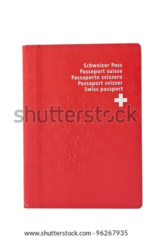 Frequently used Swiss passport, isolated on white. - stock photo