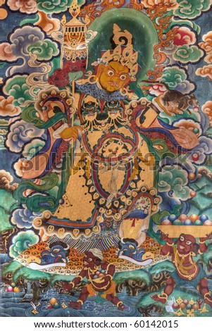 Fresco at Rumtek Gompa, Sikkim, Himalaya, India