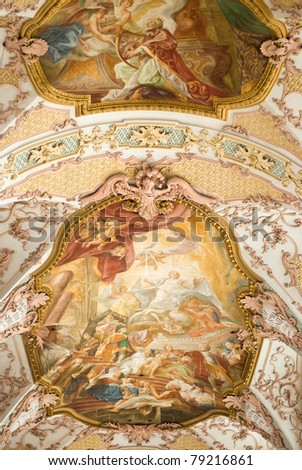 Fresco Ceiling at St. Peter's Church in Munich, Germany - stock photo