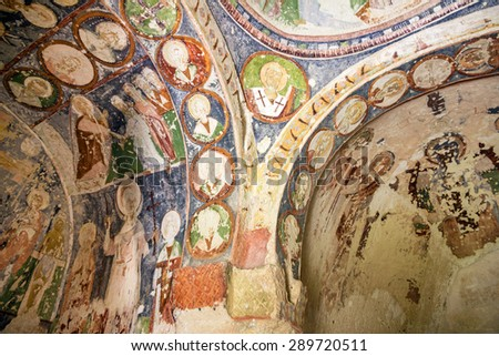 Fresco in cave orthodox church Cappadocia, Turkey - stock photo