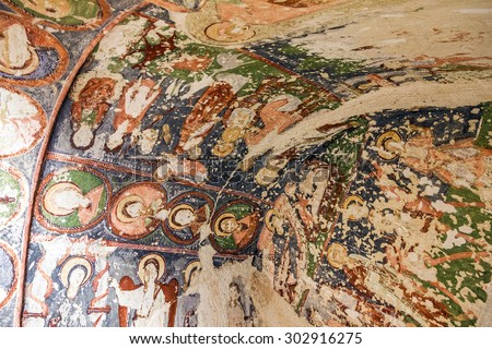 Fresco in cave orthodox church El Nazar, Cappadocia, Turkey - stock photo