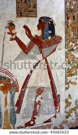 Fresco in one of the tombs in the Valley of Kings. Luxor. Egypt. - stock photo