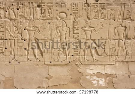 Fresco in the Karnak temple in Luxor, Egypt - stock photo