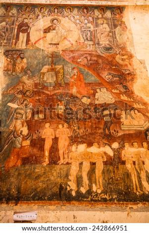 Fresco inside the church in Georgia - stock photo
