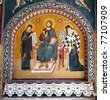 fresco of belfry tower and Radu Voda Monastery, a romanian orthodox church in Bucharest, Romania - stock photo
