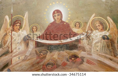 Fresco on a church, age-old chappy, but however wonderful - stock photo