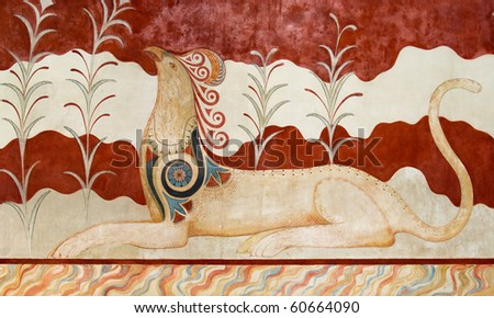 Fresco on a wall of  Throne Room a at Knossos Archeological Site in Crete, Greece - stock photo