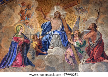 Fresco on the exterior main entrance to the Basilica de San Marco in Venice Italy - stock photo