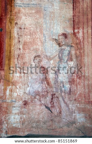 Fresco painting in a wall of Pompeii. Italy - stock photo