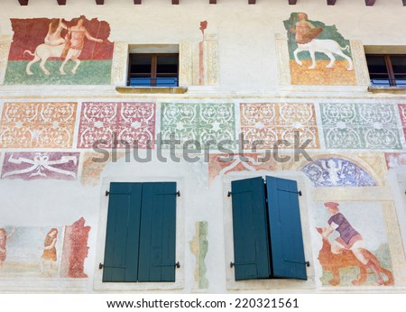 Frescoed Wall on a Historic Building in Spilimbergo, Italy - stock photo