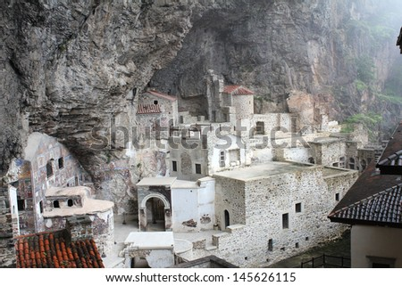 Frescoes at Sumela Monastery, Turkey - stock photo