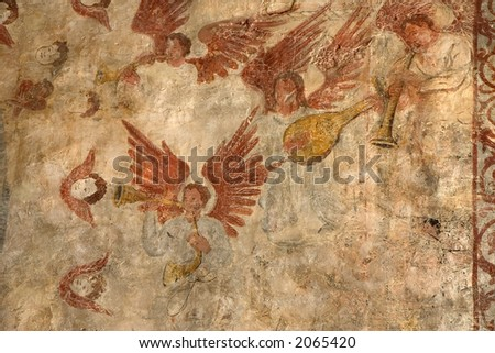 Frescoes in the Collegiate Church of Alquezar, Huesca, Aragon, Spain - stock photo
