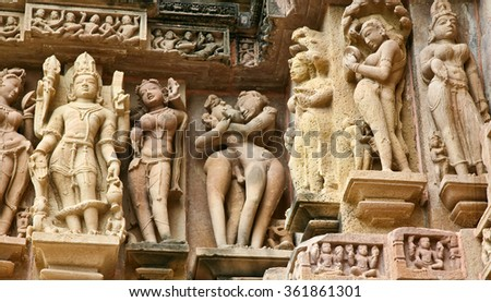 Frescoes of love. The frescoes of the temple Lakshmana displayed erotic scenes man, woman, naked. The bas-reliefs and murals in the Temple of Love in India, 02 September 2006: The temples at Khajuraho
