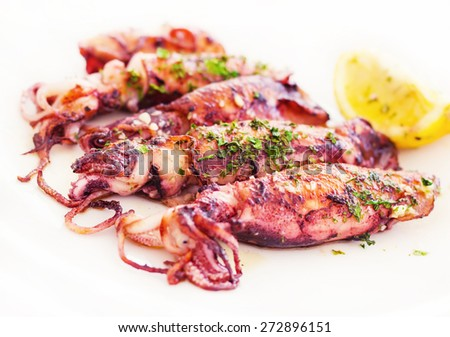 Fresh Adriatic squid in buzara sauce (shallow dof) - stock photo