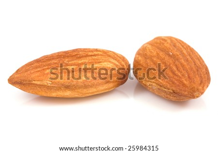 Fresh almond isolated on a white - stock photo