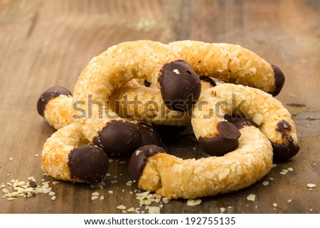 fresh almond pastry on wooden background