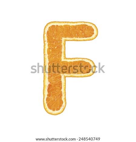 Fresh alphabet isolated on white background (Letter F)  - stock photo