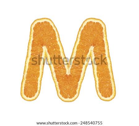 Fresh alphabet isolated on white background (Letter M)  - stock photo