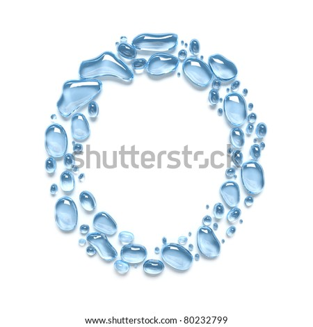 Fresh alphabet of water drops. The letter O. Isolated on white - stock photo