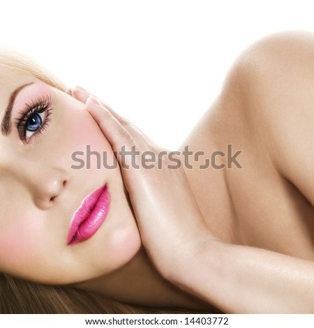 Fresh and Beautiful. Portrait of blonde with pink makeup. - stock photo
