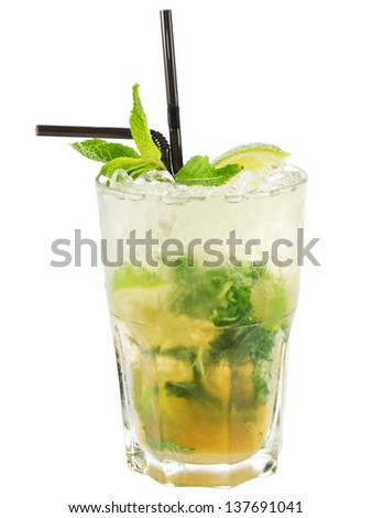 Fresh and cold ice tea with sliced lime and mint on white background