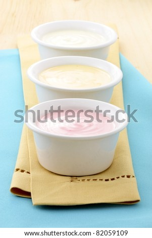 fresh and delicious creamy yogurt, healthy smooth snack - stock photo