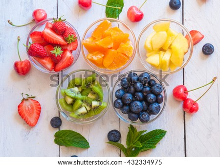 Fresh and delicious fruit salad of rainbow colors