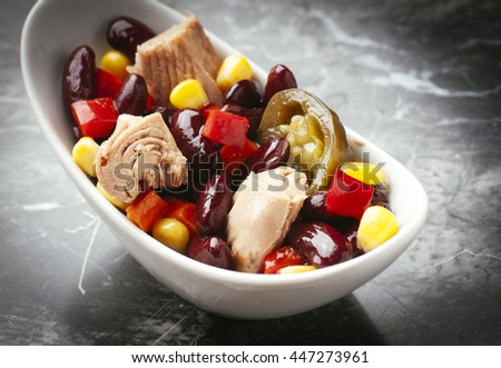 Fresh and delicious Mexican-style spicy tuna salad - stock photo