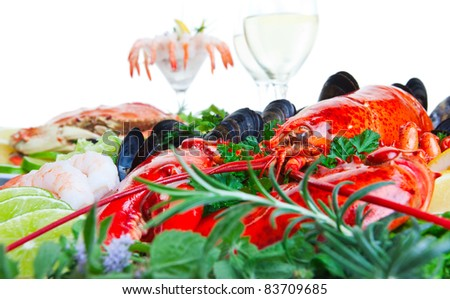 Fresh and delicious seafood dish with white background - stock photo