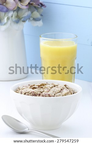 Fresh and delicious t bran cereal, on  vintage wood. - stock photo