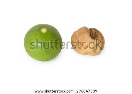 Fresh and dried lime - stock photo