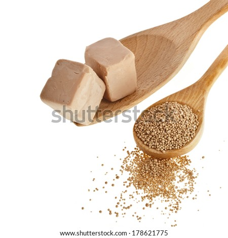 Fresh and dry yeast in wooden spoon isolated on white background - stock photo