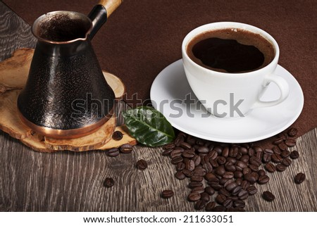 fresh and fragrant coffee with beans - stock photo