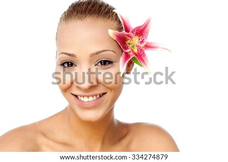 Fresh and glowing skin of spa woman