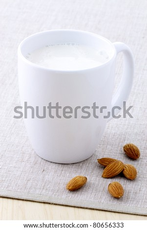 fresh and healthy cup of almond milk made with organic soybeans
