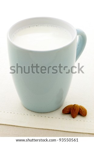 fresh and healthy cup of almonds milk made with organic almonds