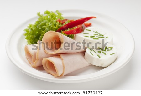 fresh and healthy dish turkey ham with cheese and salad - stock photo