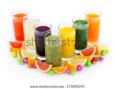 Fresh and healthy fruit and vegetable juices in the glass - stock photo