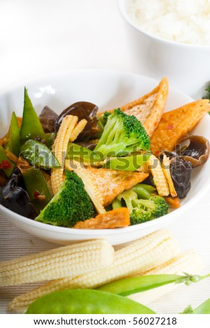 fresh and healthy tofu,beancurd with mix vegetables typical chinese dish - stock photo