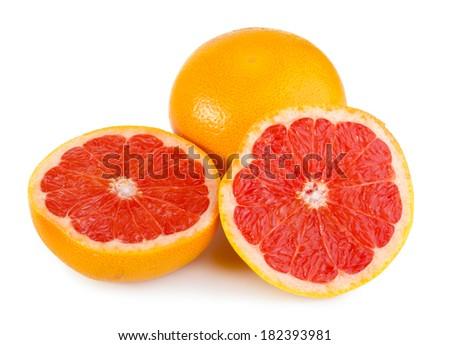 Fresh and juicy grapefruit isolated on white - stock photo