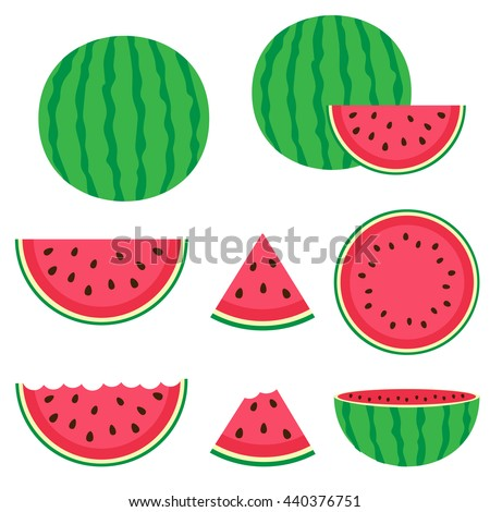 Fresh and juicy whole watermelons and slices. Raster version - stock photo