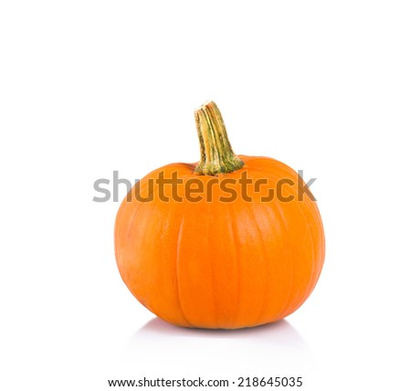 Fresh and orange pumpkin on white background.