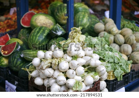 Fresh and organic vegetables in farmers market. Fresh raw taste new vegetables on market - stock photo
