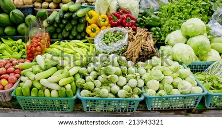 Fresh and organic vegetables in market at Thailand