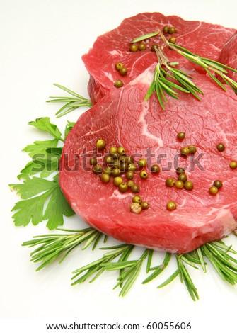 fresh and raw beef steak - stock photo