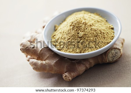 fresh and raw ginger - herbs and spices /shallow DOFF/