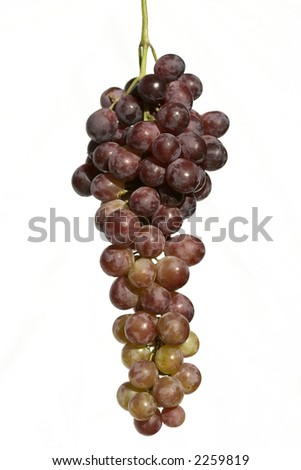 fresh and ripe bunch of grape over white